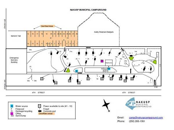 Campground Layout Map Nakusp - Us muni map