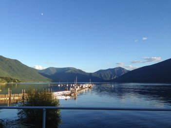 Early evening light with moon over Nakusp Marina